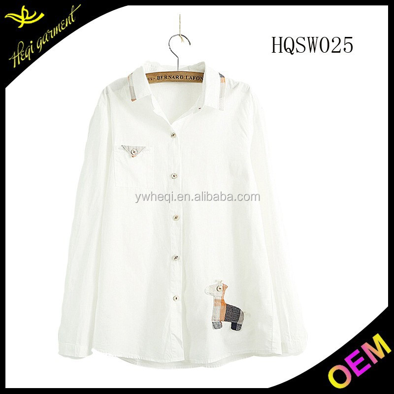 2016 Lady blouse for middle aged women with embroidery
