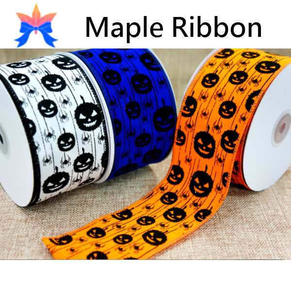 2015 Spider and Pumpkin Halloween wired Ribbon