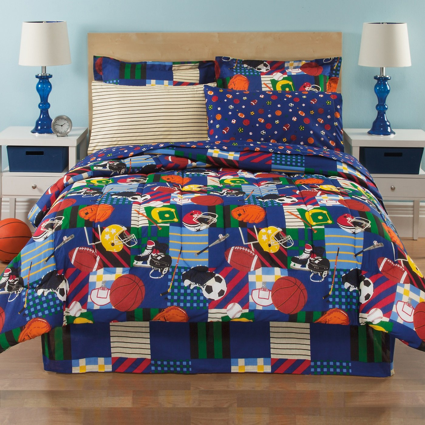 8 Piece Boys Full Sports Comforter Set Wtih Sheet Set, Reversible Bedding Squares, All Star Baseball Football Soccer Basketball All Over Pattern, Children Mix Sports Themed Pattern, Multicolored