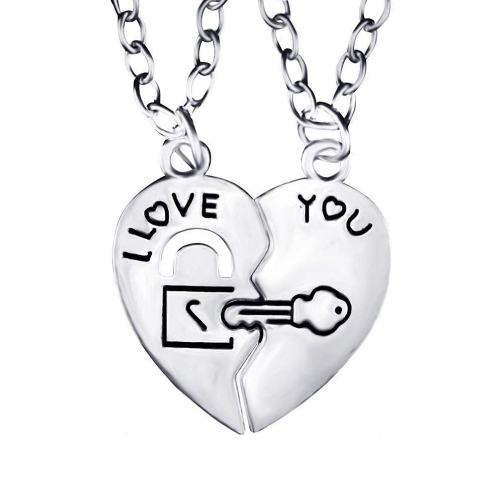 49ea98bb39 Get Quotations · Necklace Opeof I Love You Heart Lock Key Couple Pendant  Necklace Lovers Jewelry Sweet Gift -