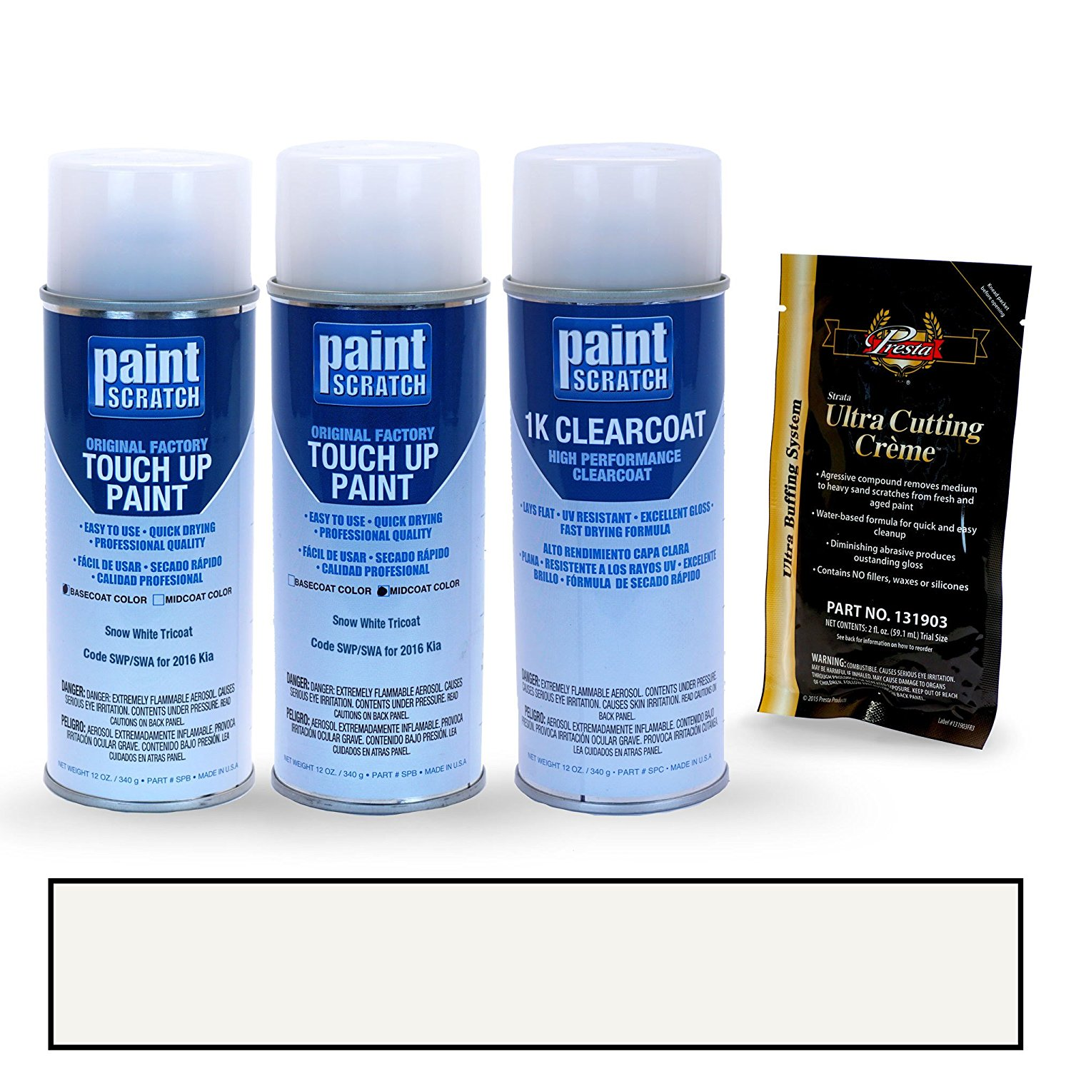 2016 Kia Optima Snow White Tricoat SWP/SWA Touch Up Paint Spray Can Kit By