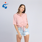 Good quality oem short sleeve rayon women summer cute blouses