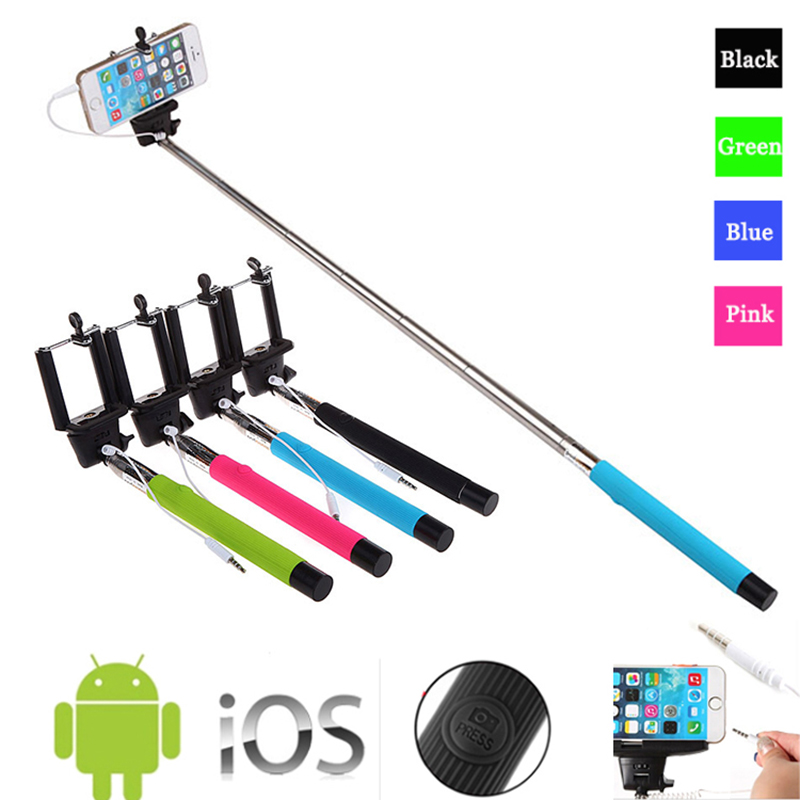 Z07 5S Extendable Handheld Monopod Audio Cable Wired Palo Selfie Stick For Iphone 6 plus 5s
