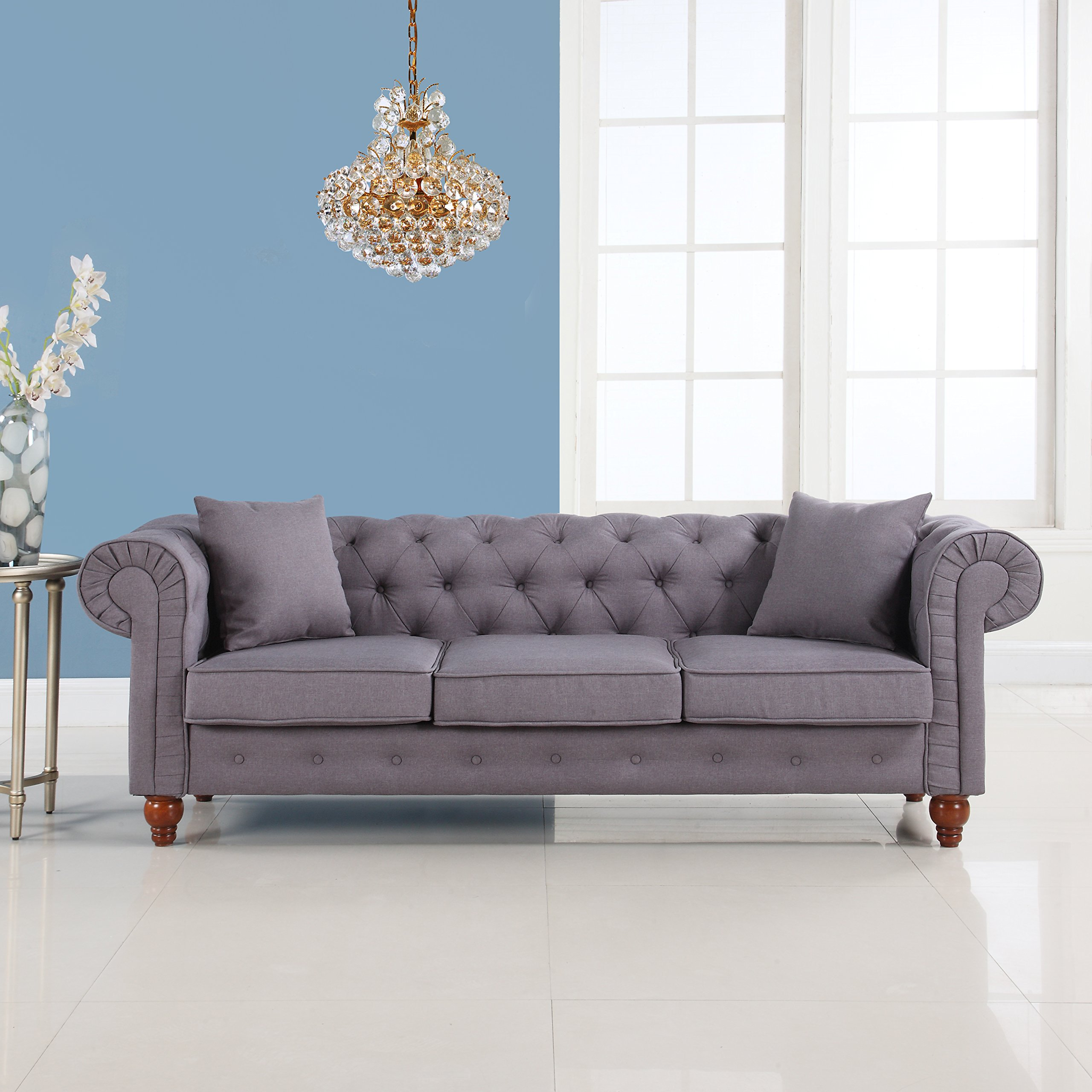 Classic Linen Fabric Scroll Arm Tufted Button Chesterfield Style Sofa (Dark Grey)