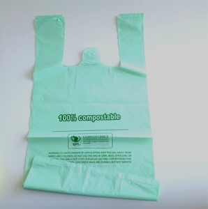 ok compost certificated compostable carry bags 100% biodegradable with custom logo print