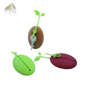 Cute Safety coffee beans shape silicone key bag