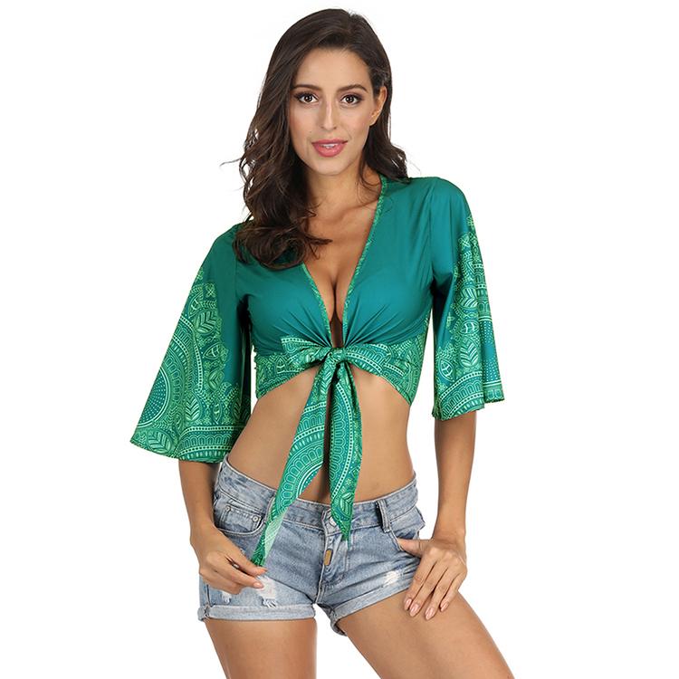 f9213b052 Boho resumen patrón recortada cubierta caída cuello Sexy vestido verano  playa vestido para ...
