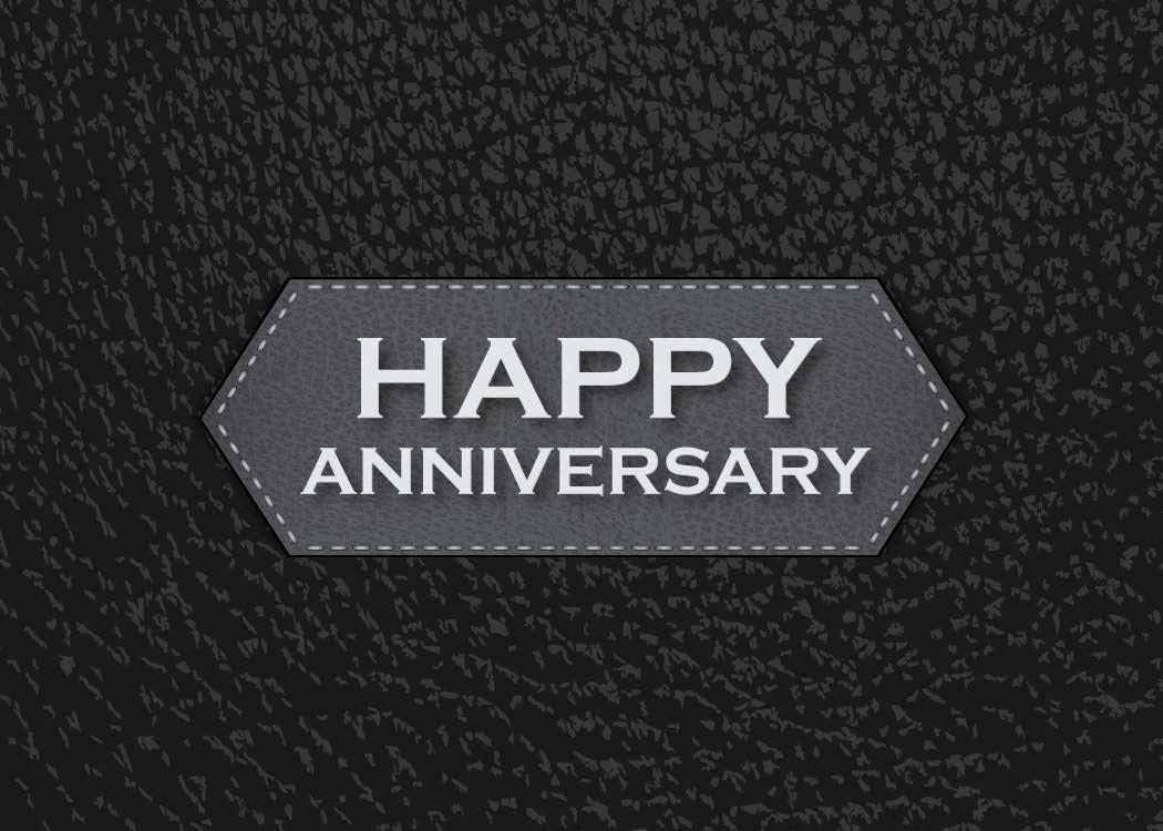 Anniversary Greeting Cards - A1702. Business Greeting Card Featuring Happy Anniversary on a Black Background with Leather Design. Box Set Has 25 Greeting Cards and 26 Bright White Envelopes.
