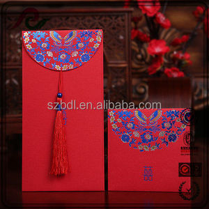 Chinese style butterfly design tassels decoration wedding red packet with foil stamping