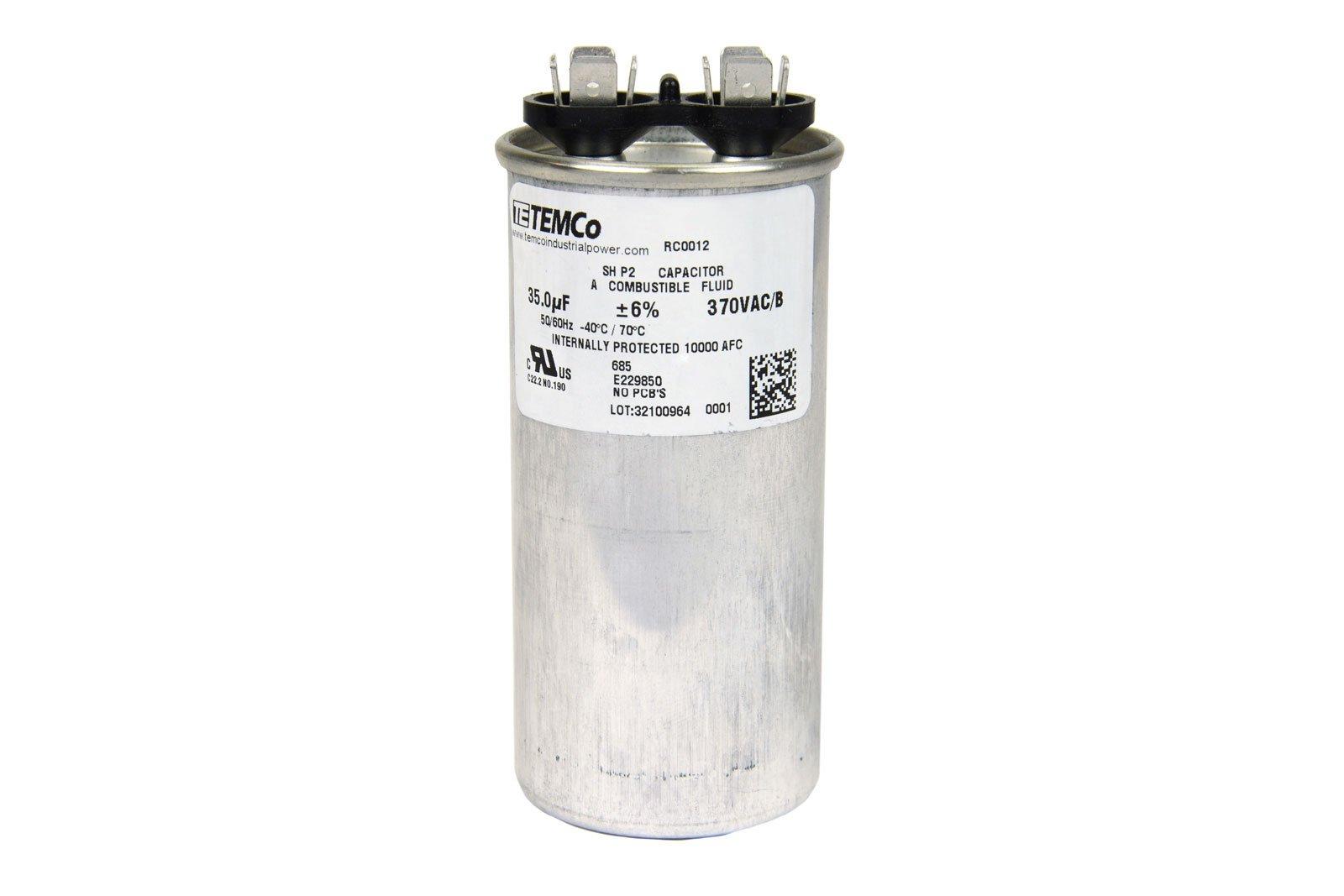 TEMCo Motor Run Capacitor RC0012-35 mfd 370 V VAC volt 35 uf Round HVAC