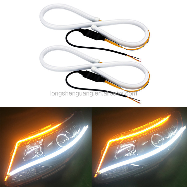 Warna Ganda 60 Cm LED Siang Hari Berjalan Lampu Mobil LED Turn Sinyal Fleksibel Lampu Angel Eye DRL Siang Hari dengan streaming Lampu