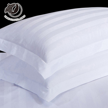 300TC 40S White 3cm Stripe Custom Cotton Pillow Case With Customer Logo