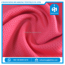 Changxing manufacturer quick dry 100 polyester bird eye mesh knit fabric