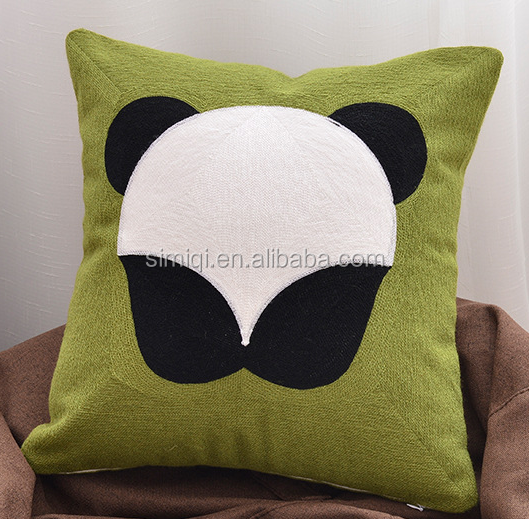 factory produce panda wholesale embroidered throw pillow