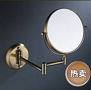 European style wall mounted folding antique copper mirror bathroom mirror double-sided dressing mirror-8 inch A green bronze round-bottom 8-inch mirror