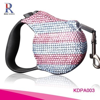 Pet accessories retractable dog leash with rhinestone crystals