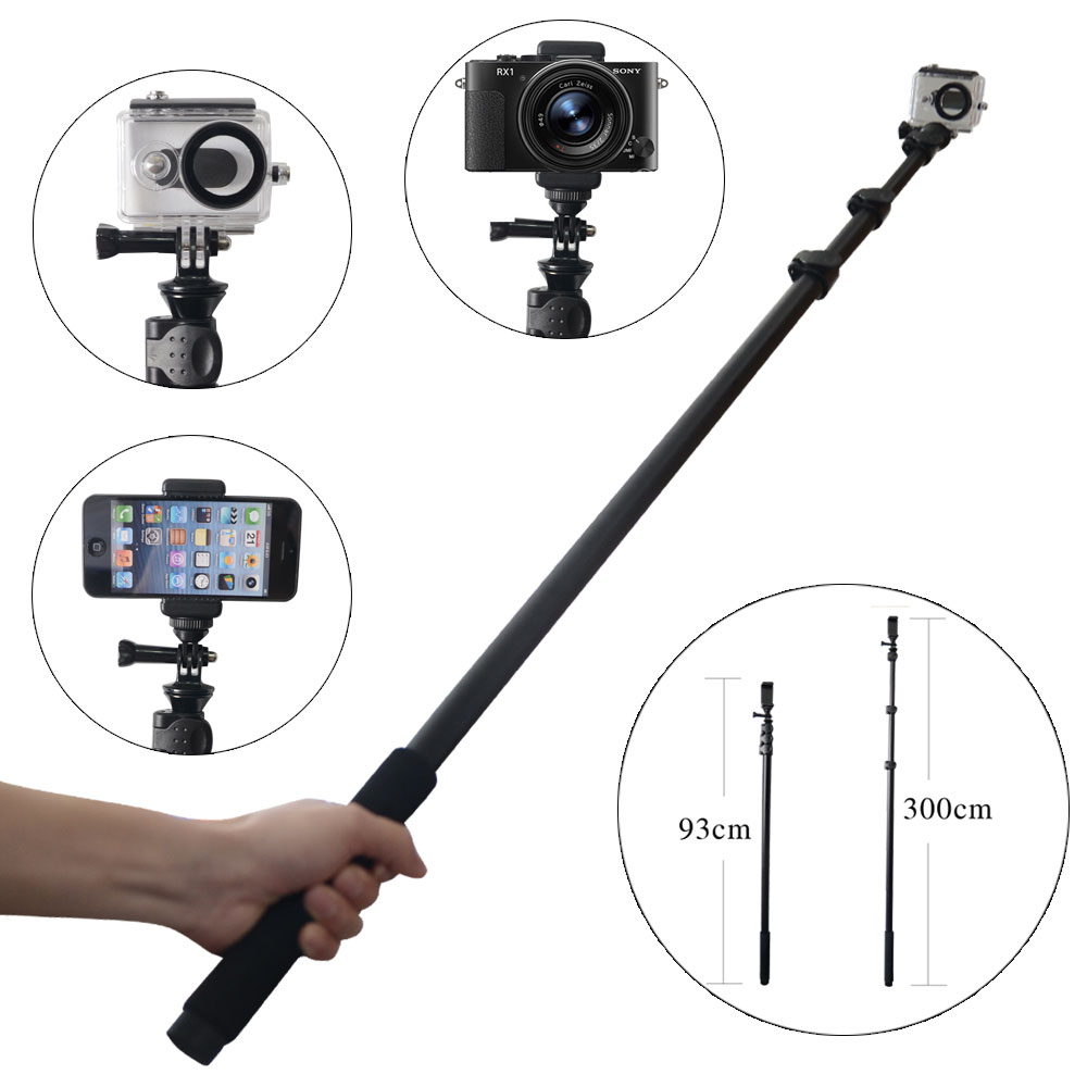 Mcoplus Aluminum Super Long Length 3 Meters Self-monopod for for Sony/iPhone/Samsungs/HTC/LG ect. &Gopros