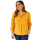 KEYIDI Factory yellow solid plus size women lady chiffon blouse