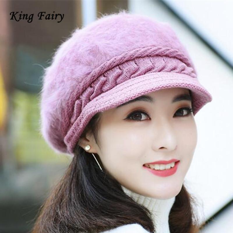 여성 헐렁한 추운 날씨 따뜻한 겨울 니트 모자 토끼 모피 모자 스키 비니 해골 바이저