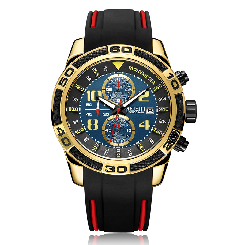 MEGIR MN2045G Men Quartz Watch Hot New Fashion Style Silicone Wristwatch фото