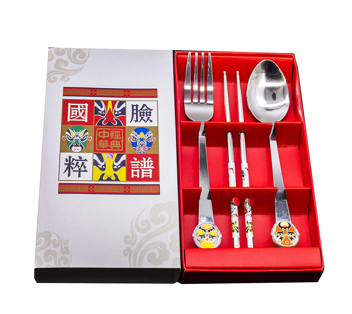 Genubi-3PCS Chinese Oriental Style Peking Opera Portable Flatware Fork Spoon Chopsticks Tableware Set 410 Stainless Steel Dinnerware Silver