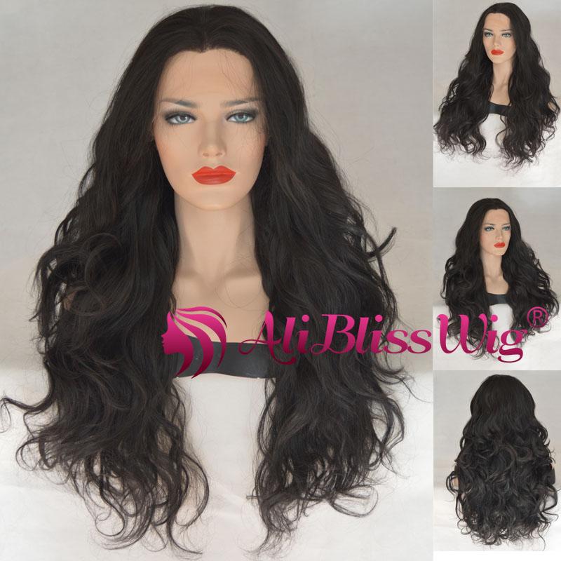 Парик длинные черные волосы