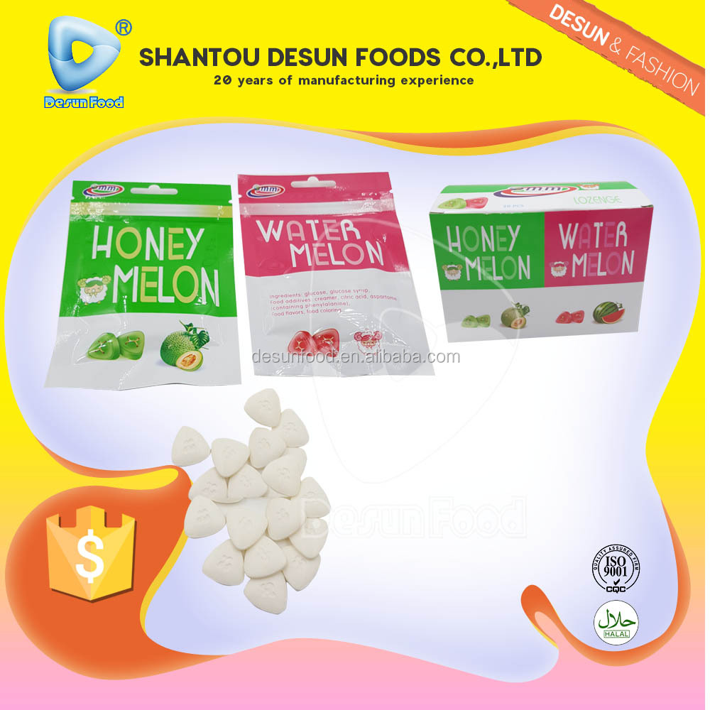 natural color honey melon water melon flavor compressed candy Lozenge