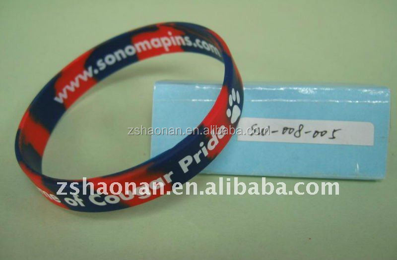 Printed fancy silicone wrist band no minimum order
