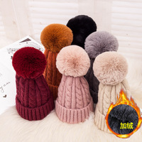 Velvet Winter Hat Cap women Knitting Cap faux fur Pompoms beanie hat