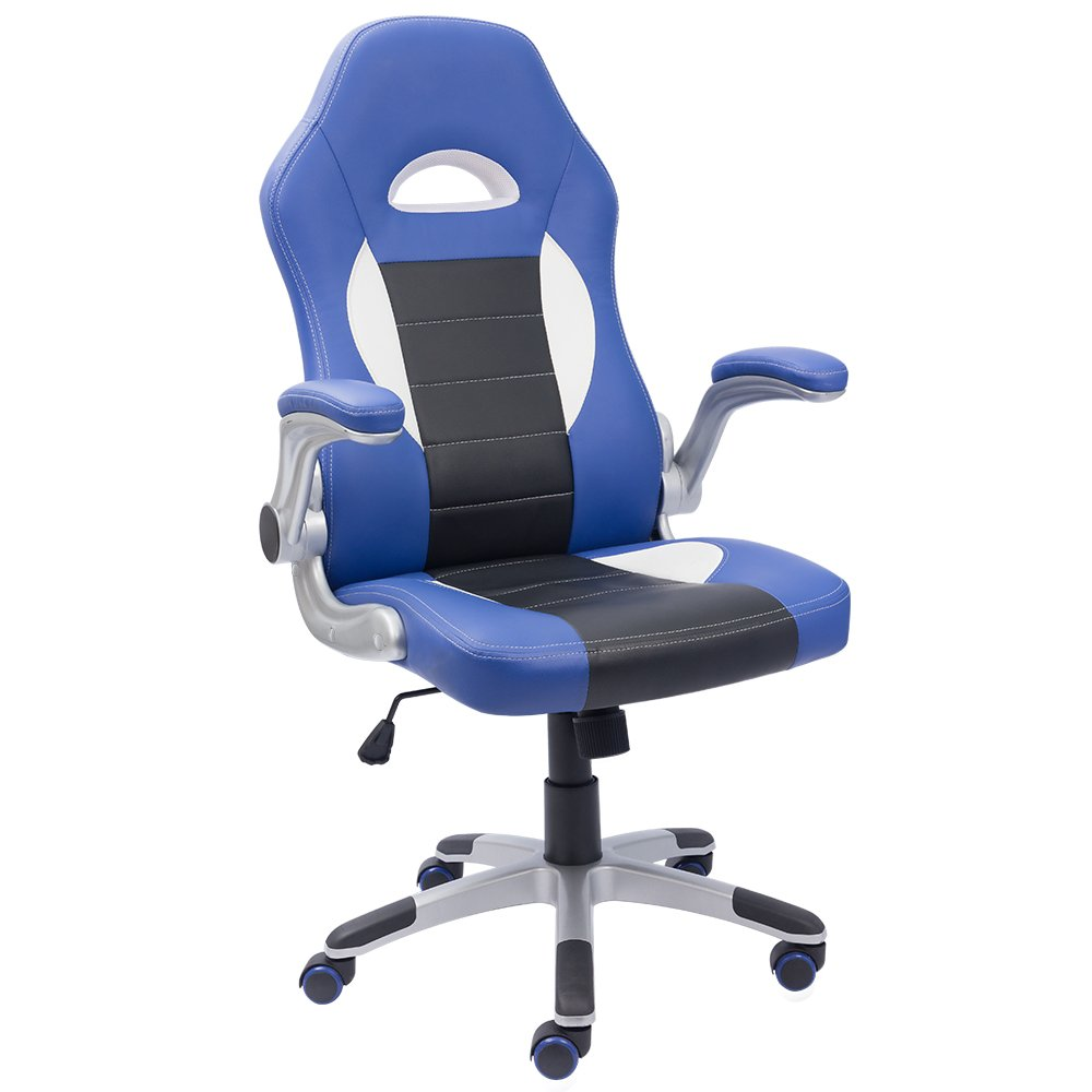 Devoko Office Chair High Back PU Leather Racing Style Chair, Ergonomic Swivel Gaming Computer Chair Swivel Desk Chair, Bucket Seat, Headrest Support (Blue/Black)