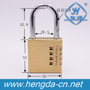YH1235 High Security 4 Digits 50mm Combination Heavy Door Brass Padlock