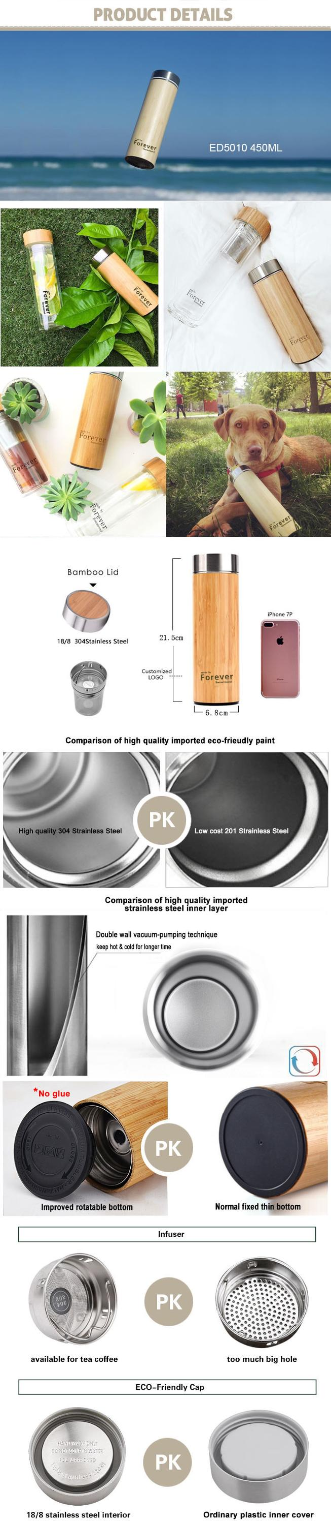 ED5010 320ML Eco-Friendly Material Thermal Coffee Cup Vacuum Insulated Stainless Steel Bottle