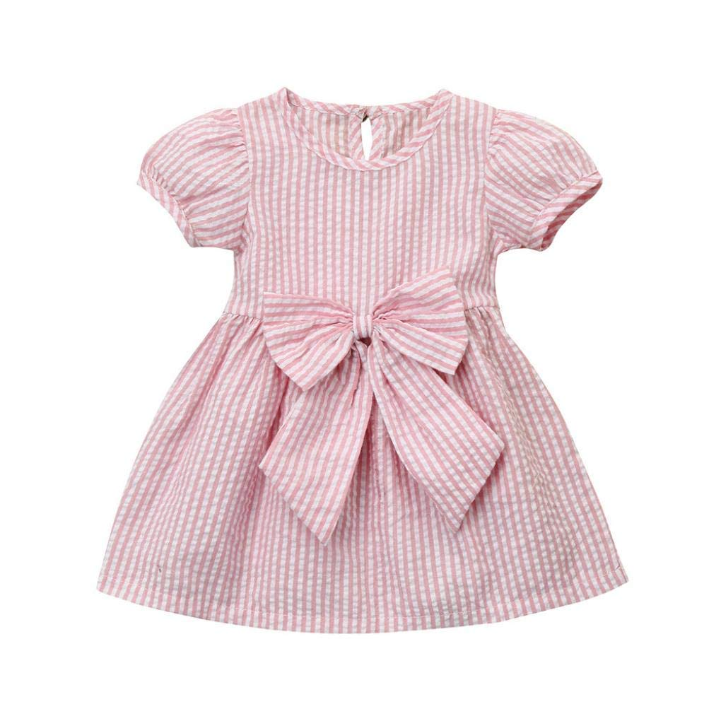 Girls' Clothing (newborn-5t) Lins Baby Girl Dress Pink White Bow Detail Boutique 12-18 Months Short Sleeved