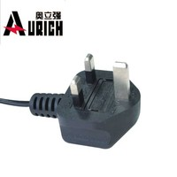 Aurich China manufacturer electrical 10A 16A 250V 220v 3 prong laptop uk standard power cords plug power supply cord