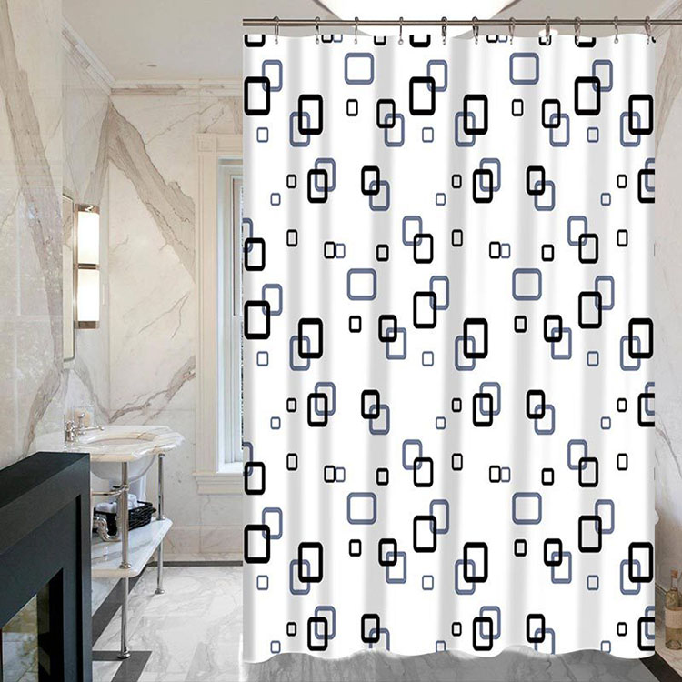 Custom Simplified Geometric Printing Antirust Home Furnishing Polyester Fiber Shower Curtain