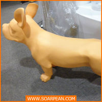 yellow life size greyhound sitting dog statue for home decoration