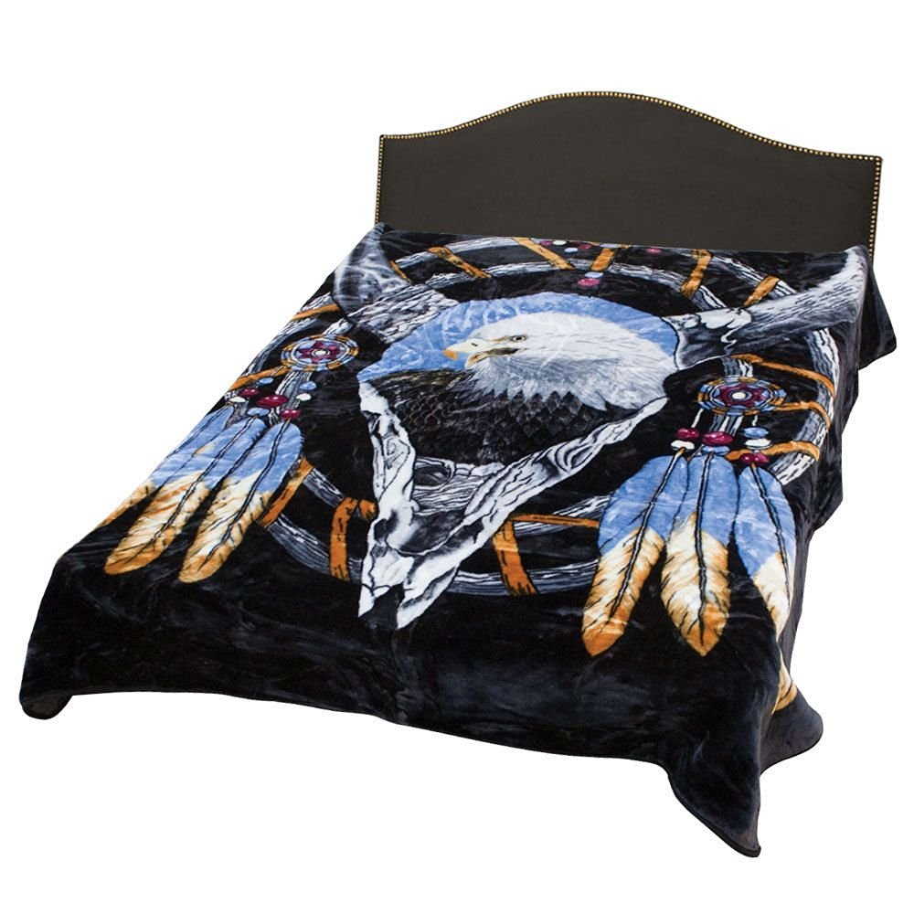 Cow Skull Eagle Dream Catcher Heavy Weight 3.2kg (7lbs) Acrylic Mink Blanket