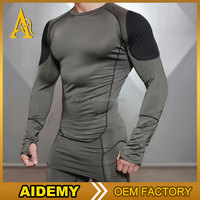 New fitness men long sleeve running sports t shirt men thermal muscle gym bodybuilding compression tights shirts