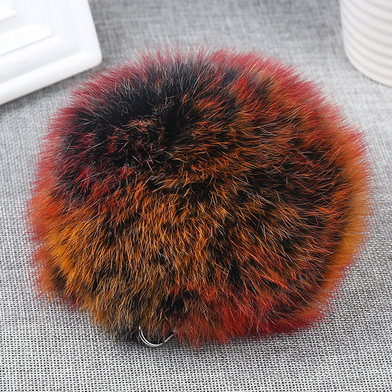 Custom size rainbow fox fur pom keychain promotional price tongxiang fur