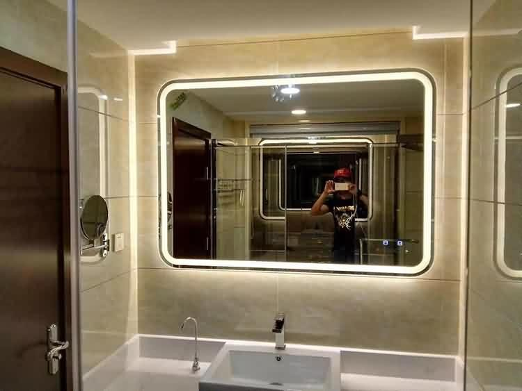 Norhs modern designs square wall frameless large led lighted backlit luxury bathroom mirrors for bathroom vanity makeup