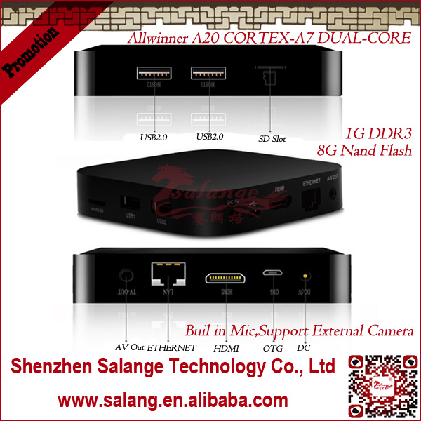 New 2014 made in China AMLogic Dual Core white android desi <strong>tv</strong> <strong>box</strong> by salange