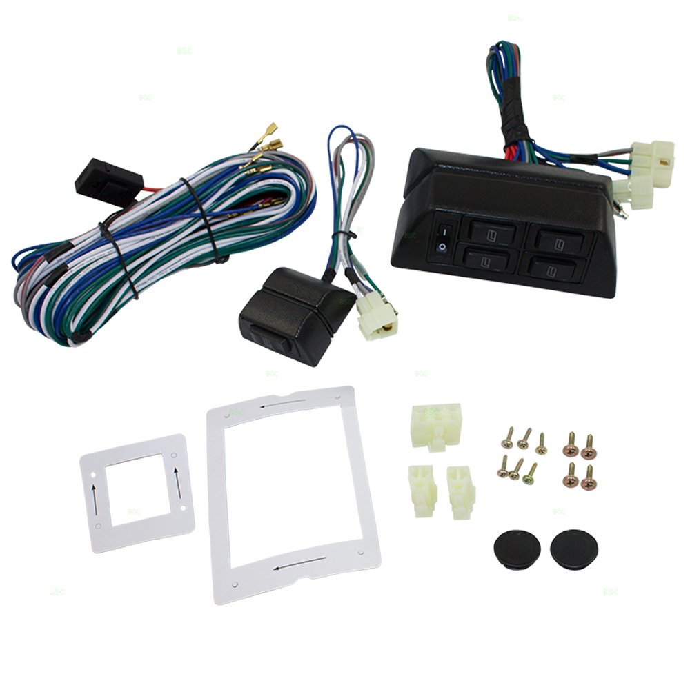 Get Quotations · Universal Power Window Switch Kit Flat Design with Bezels,  Switch & Wiring Harness for 2