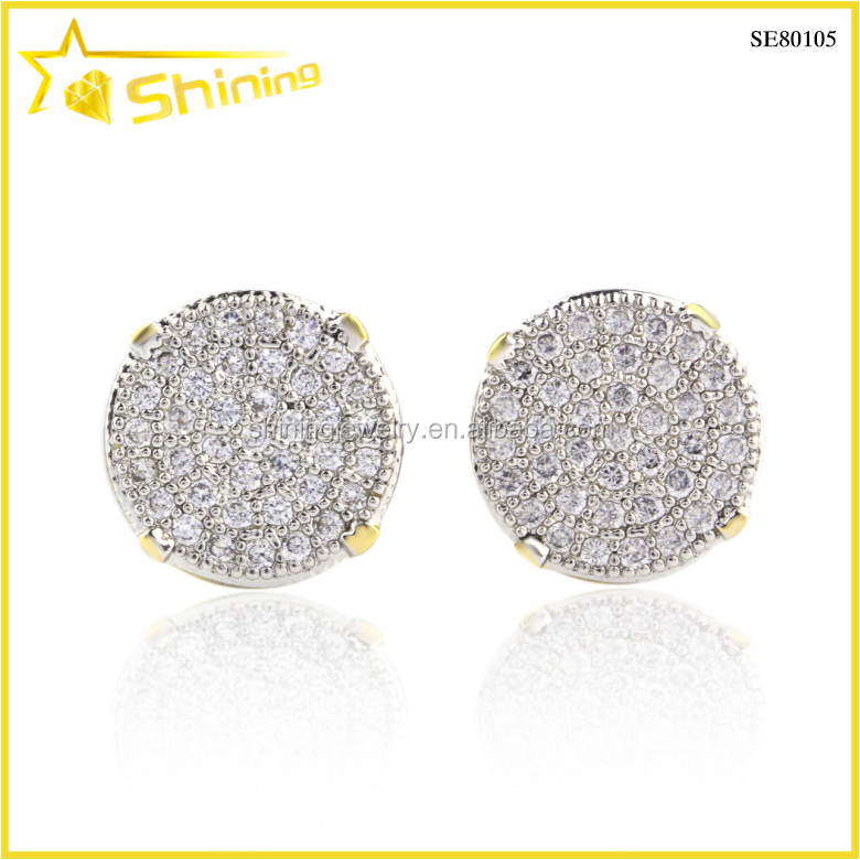 aaa zircon two tone plating lemonade yellow screw back stud earrings