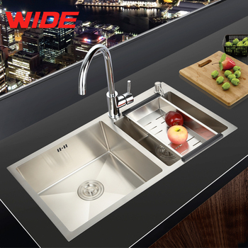 Cheap sink for kitchen stainless steel, small double kitchen sink