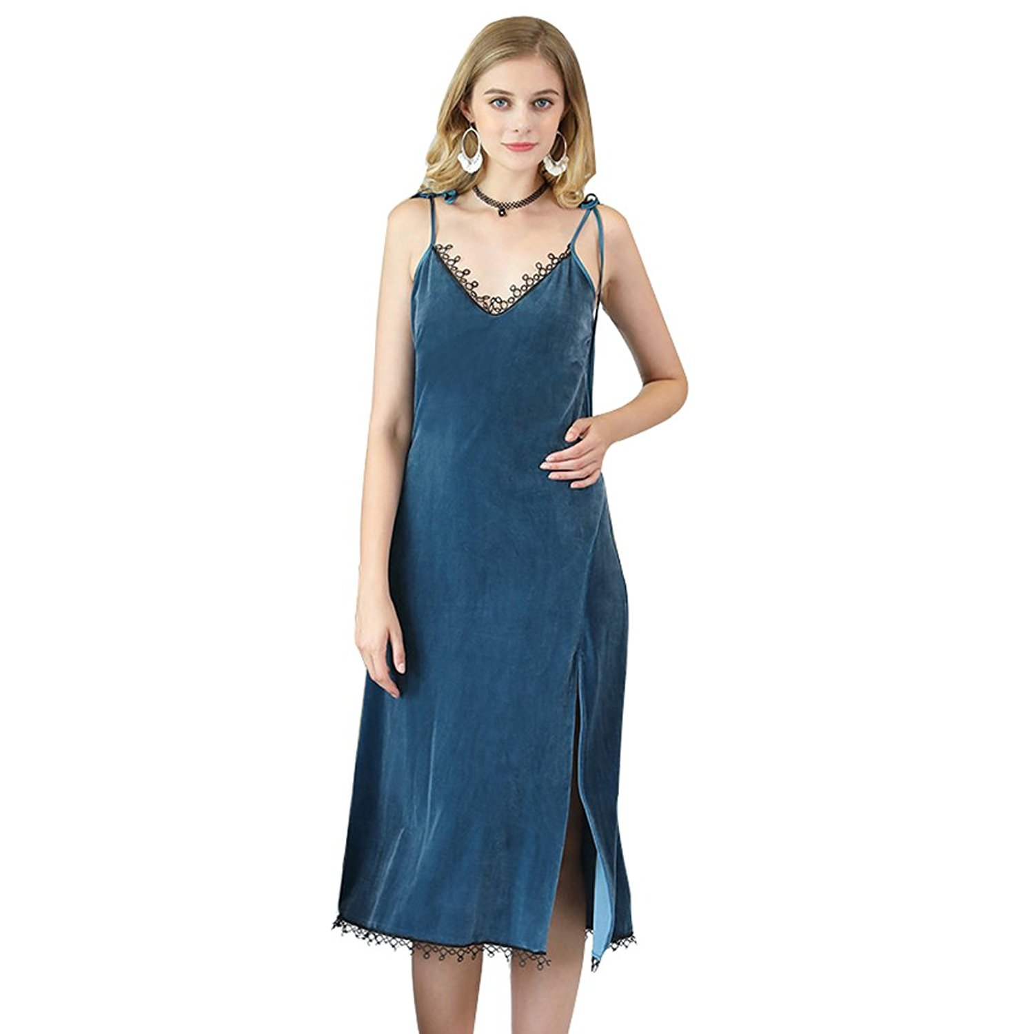 Get Quotations · SexyTown Womens Nightgowns Long Lace Full Slip Sleepwear  Warm Soft Sleeveless Nightdress 9065b4402