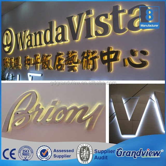3d polished brass metal advertising letter sign