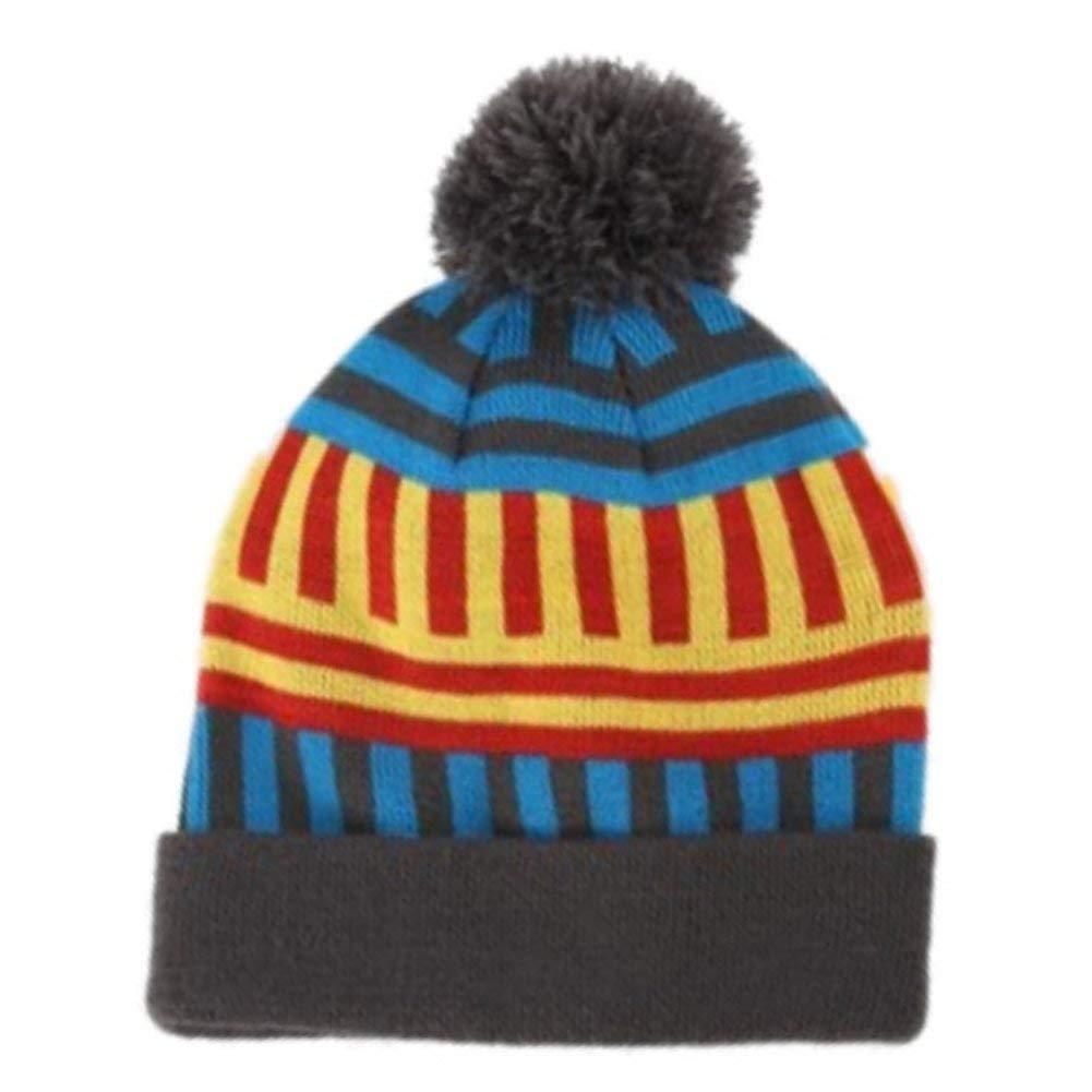 0889f024c3165d Get Quotations · Aquarius Geormetric Blue & Red Striped Beanie Pom Pom Hat  Stocking Cap