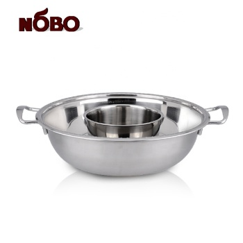 Good quality sukiyaki shabu grill pan pot set stainless steel  divided hot pot with double handle