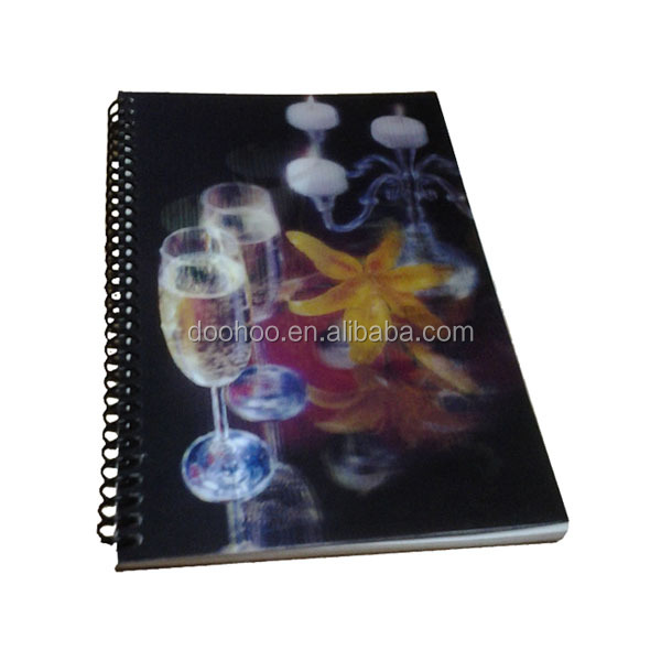 3d spiral binding notebook supplier manufacturer with 3d lenticular cover
