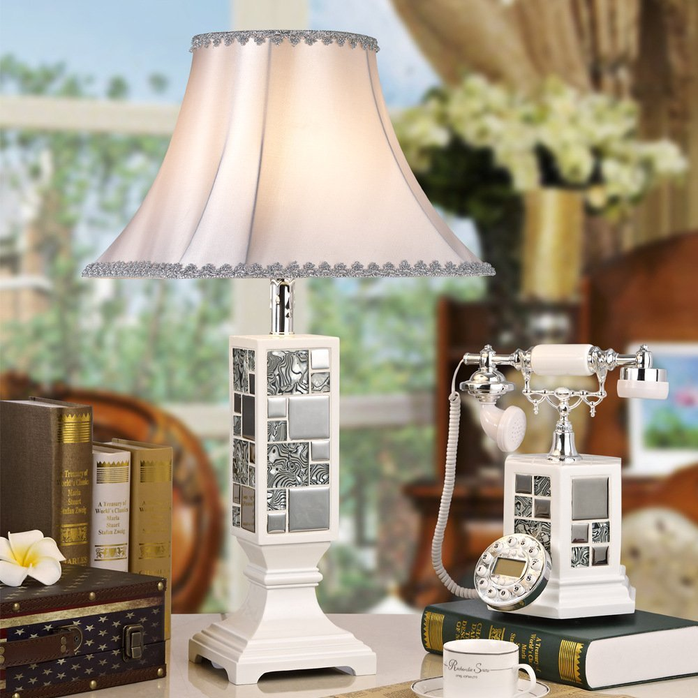 Telephone table lamp table lamp bedside lamp simple one Continental European telephone table lamp study table lamp bedside lamp , 2226 white